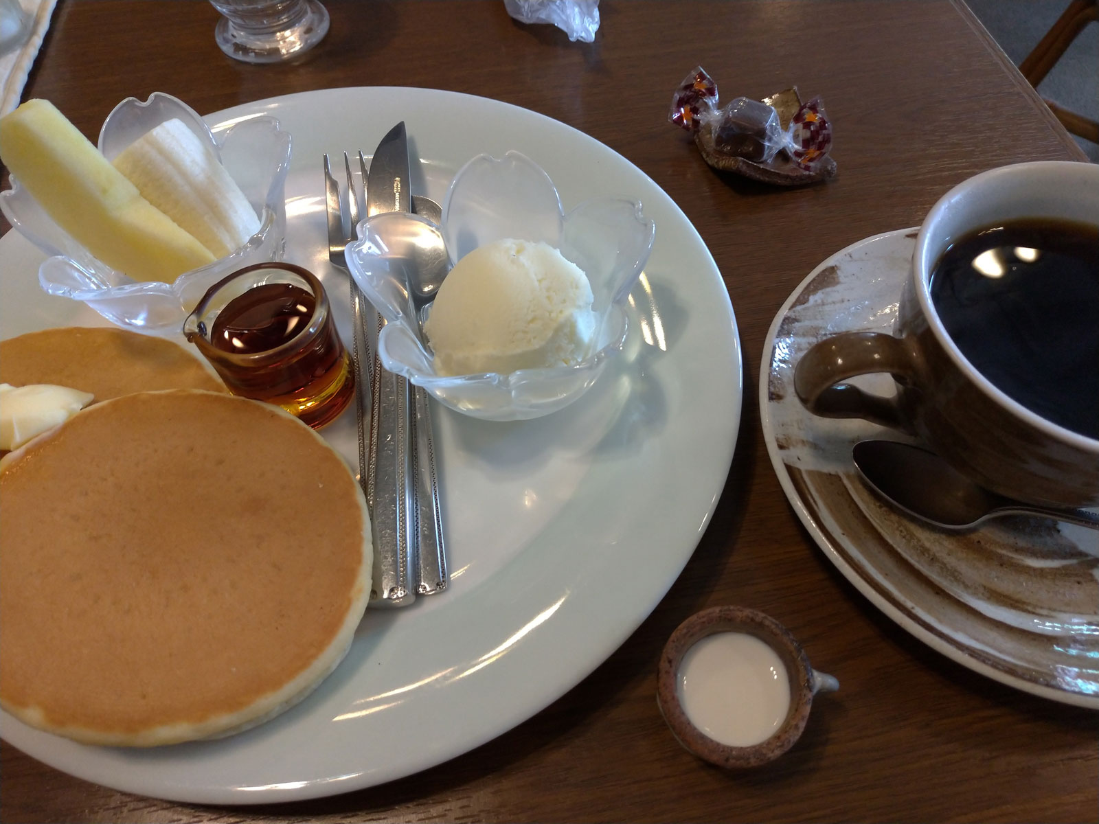 Hotcake and a cup of coffee